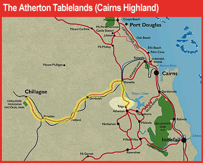 Atherton Tablelands map marking itinerary drive