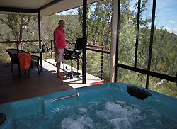 Enjoy Treetops deck with  spa and BBQ
